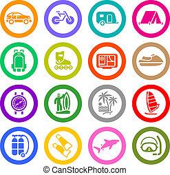 Urlaub, Erholungs- und Reisen, Ikonen gesetzt