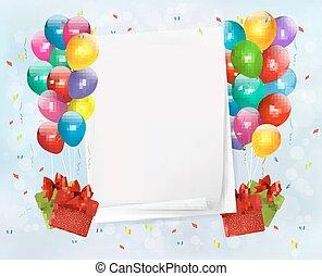 Urlaub mit bunten Ballons und Geschenkboxen. Vektor Illustration.