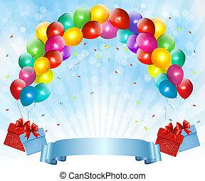 Urlaub mit bunten Ballons und Geschenkboxen. Vektor Illustration