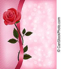 Urlaub mit roter Rose und Band. Valentinstag. Vector