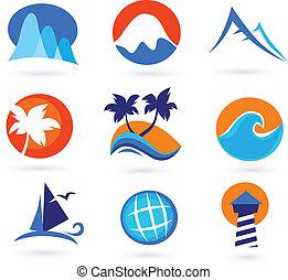 Urlaub, Reisen und Urlaubs-Ikonen