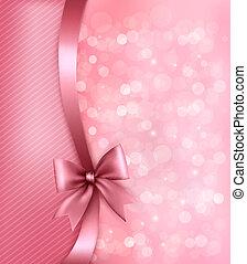 Urlaubs-Pink-Hintergrund mit altem Papier und Geschenk-Schleife. Vector