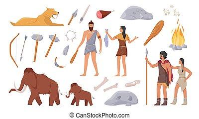 urzeitlich, waffe, prähistorisch, werkzeuge, ursprünglich, stoneage, tiere, familie, stamm, satz, leute
