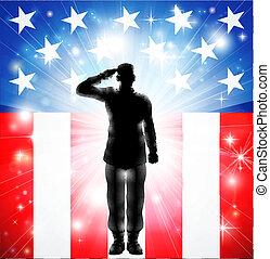 US-Flagge Militärs, Soldat der Silhouette Saluting