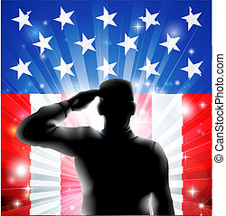 US-Flagge Militärsoldat in Silhouette