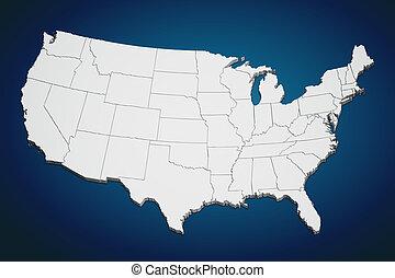 US-Karte auf Blau