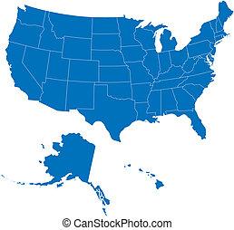 USA 50 Staaten blaue Farbe