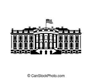 usa regierung, haus, politisch, uns, zeichen, villa, president., grenzstein, weißes, amerika, icon., gebäude.