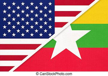 usa, zwischen, myanmar, countries., zwei, textile., beziehung, asiatisch, republik, vs, amerikanische markierung, national