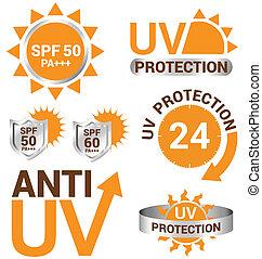 UV-Schutz und Anti-Uv-Vektor.