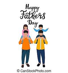 Väter halten die Schultern ihrer Kinder fest. Kleiner Sohn und Tochter. Fröhliches Vatertagsblatt gezeichnet