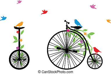 Vögel auf dem Retrorad, Vektor