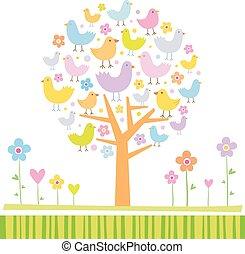 Vögel auf einem Baum.
