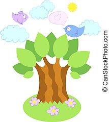 Vögel auf einem Baum, Vektorgrafik.