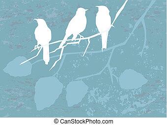 Vögel auf Grunge.