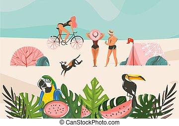 vögel, grafik, blätter, sandstrand, leute, lager, freigestellt, vektor, hand, bestand, zelt, tropische , wasserlandschaft, gezeichnet, abstrakt, blaues, abbildung, hintergrund, landschaftsbild, gruppe
