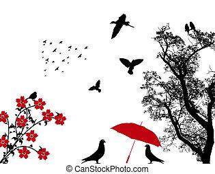 Vögel im Hintergrund