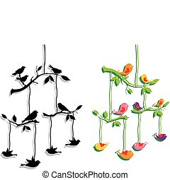Vögel mit Ast, Vektor