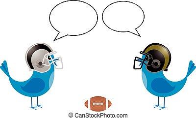 Vögel mit Footballhelmen reden.