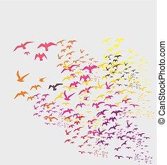 Vögel Silhouette setzen Vektorkunst ein