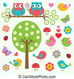 Vögel und Eulen im Frühlingswald