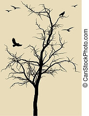 vögel, vektor, baum