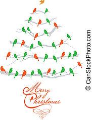 vögel, vektor, baum, weihnachten