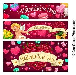 valentine, blumen, herz, süßigkeiten, tag, luftballone