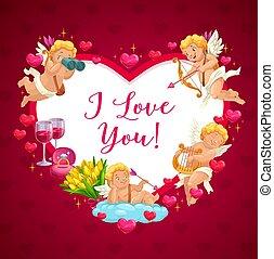 valentine, engel, glücklich, tag, amor, herz, rahmen