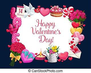 valentine, gruß, tag, lieben herz, rahmen, blumen