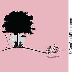 Valentine Hintergrund mit Baum, Vogel und Sonnenuntergang. Valentinstag. Vektor Illustration.