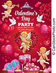 valentine, liebe, blumen, herz, party, tag, luftballone