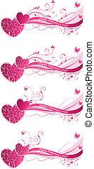 Valentines Blumenwellenhintergrund