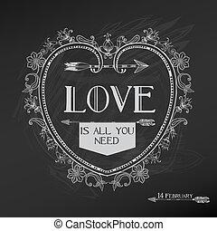valentines, weinlese, -, liebe, vektor, design, hochzeitstag, karte