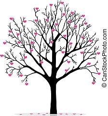 Valentinsbaum mit Herzen.