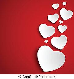 Valentinsherz auf rotem Hintergrund.