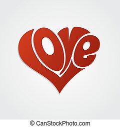 Valentinskarte mit Buchstaben. Liebe Kalligraphie