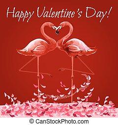 Valentinskarte mit Flamingos Liebe Herz