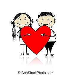 Valentinstag. Ein Paar mit einem großen roten Herz für dein Design