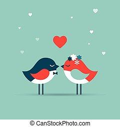 Valentinstag, Grußkarte, Hochzeitseinladung mit Vögeln.