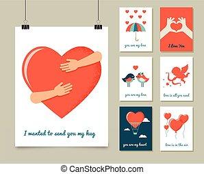 Valentinstag, Grußkarten und Plakate.