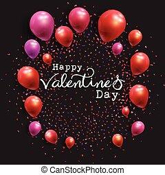 Valentinstag mit Ballons und Konfetti.