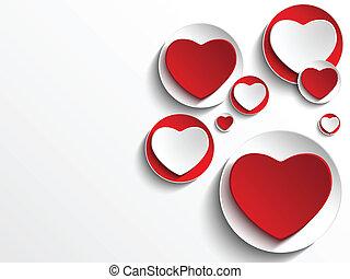 Valentinstagsherz auf weißem Knopf