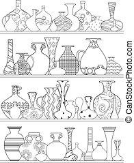 Vasen mit ethnischen Ornamente auf Regalen für Ihr Farbbuch.