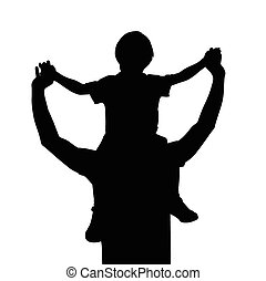 Vater mit Kind auf Schultern.