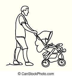 Vater mit kleinem Sohn im Kinderwagen. Sunny Park. Kontinuierliche Linienzeichnung. Auf weißem Hintergrund. Vector Monochrom, Zeichnung nach Linien