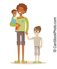 Vater mit seinen beiden Kindern hat eine schöne Zeit. Gemischte Rassenfamilie.