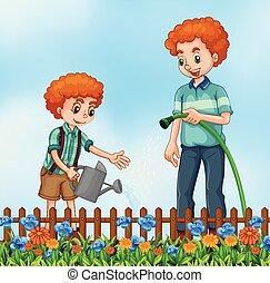 Vater nad Sohn, der den Garten wässert.