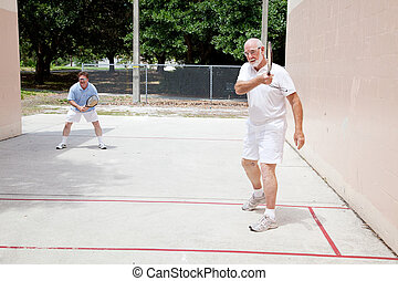 vater, sohn, raquetball