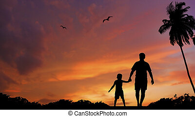 Vater und Sohn gehen zusammen